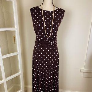 Jessica Howard Brown Polka Dot Maxi Dress EUC 14W